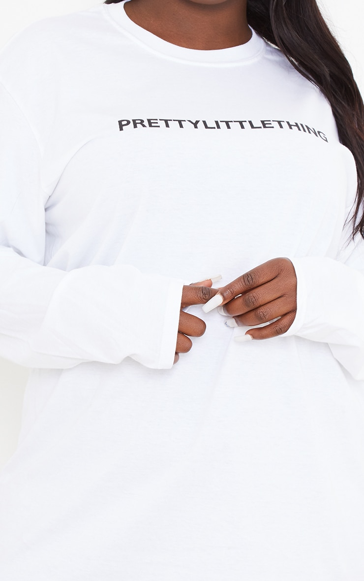 PRETTYLITTLETHING Plus White Slogan Print Long Sleeve T-Shirt 4