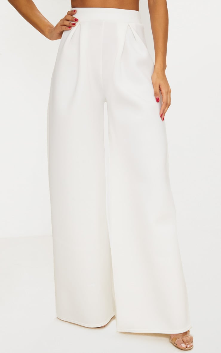 White Bonded Scuba Pleated Extreme Wide Leg Trousers 2