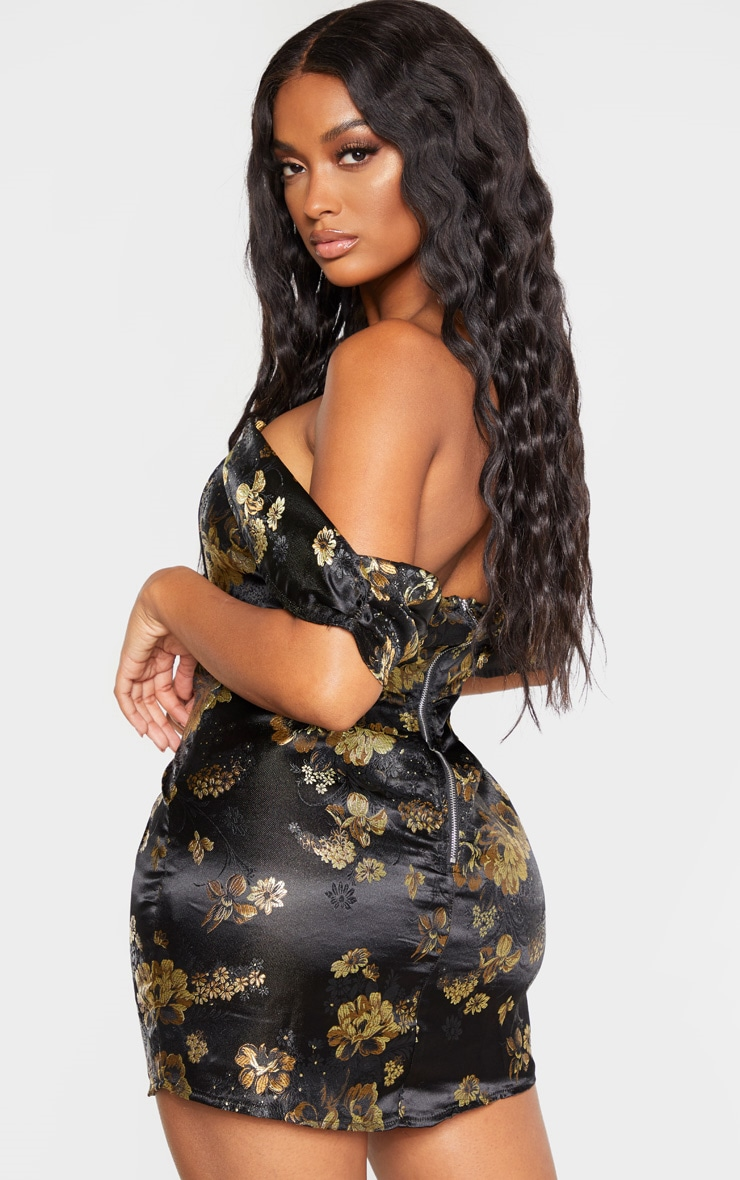 Shape Black Floral Bardot Bodycon Dress 2