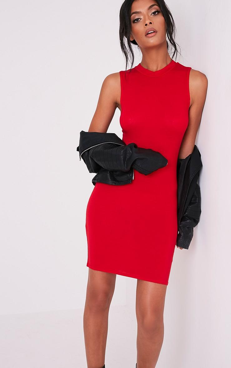 Rebecca Red High Neck Bodycon Dress 1