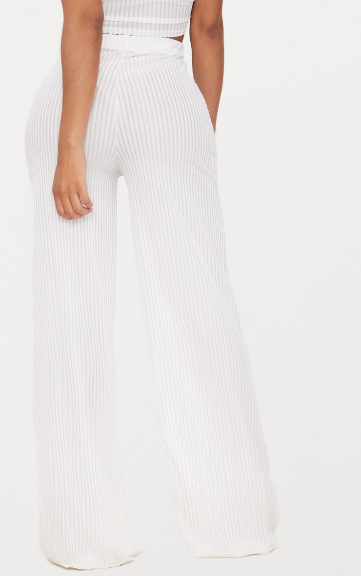 Shape White Striped Velvet Wide Leg Trousers 4