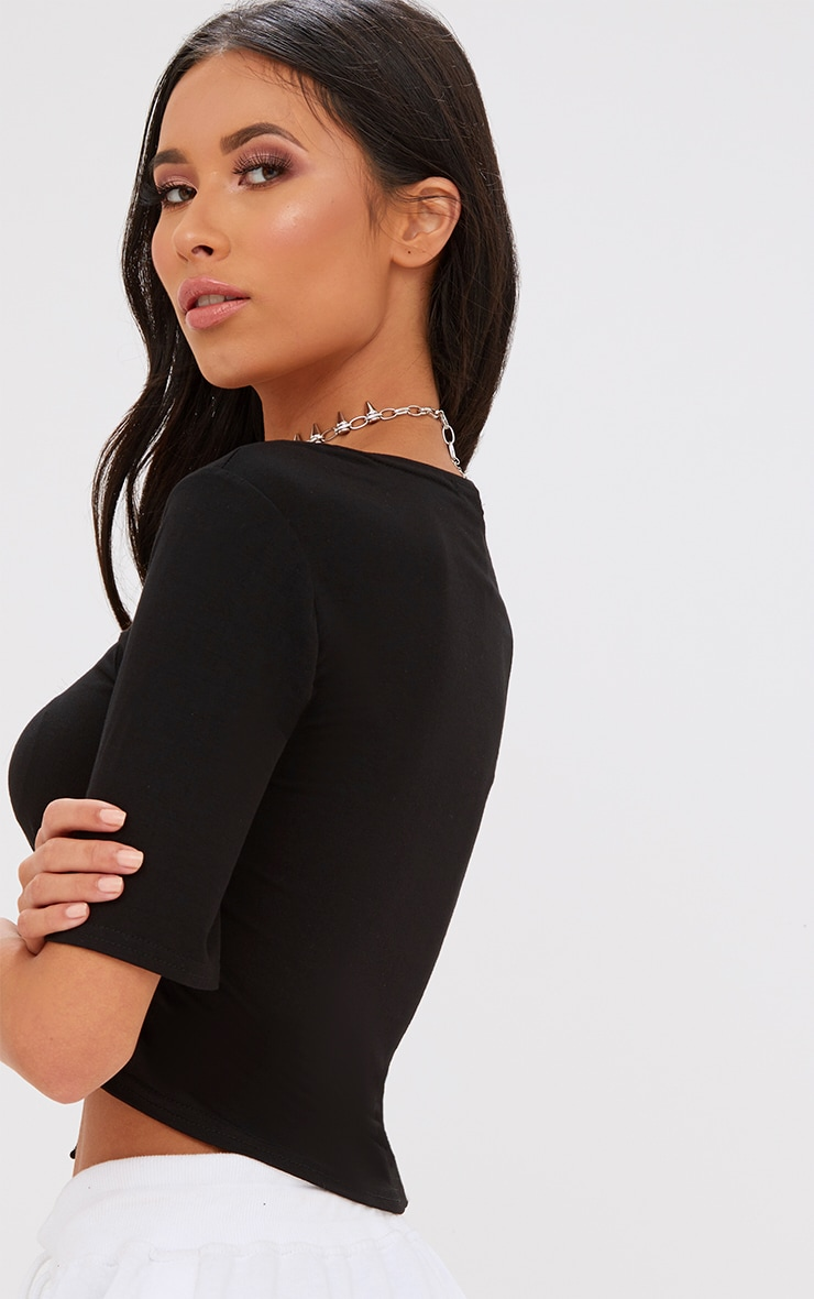Black Lace Up Front Cropped T Shirt 2