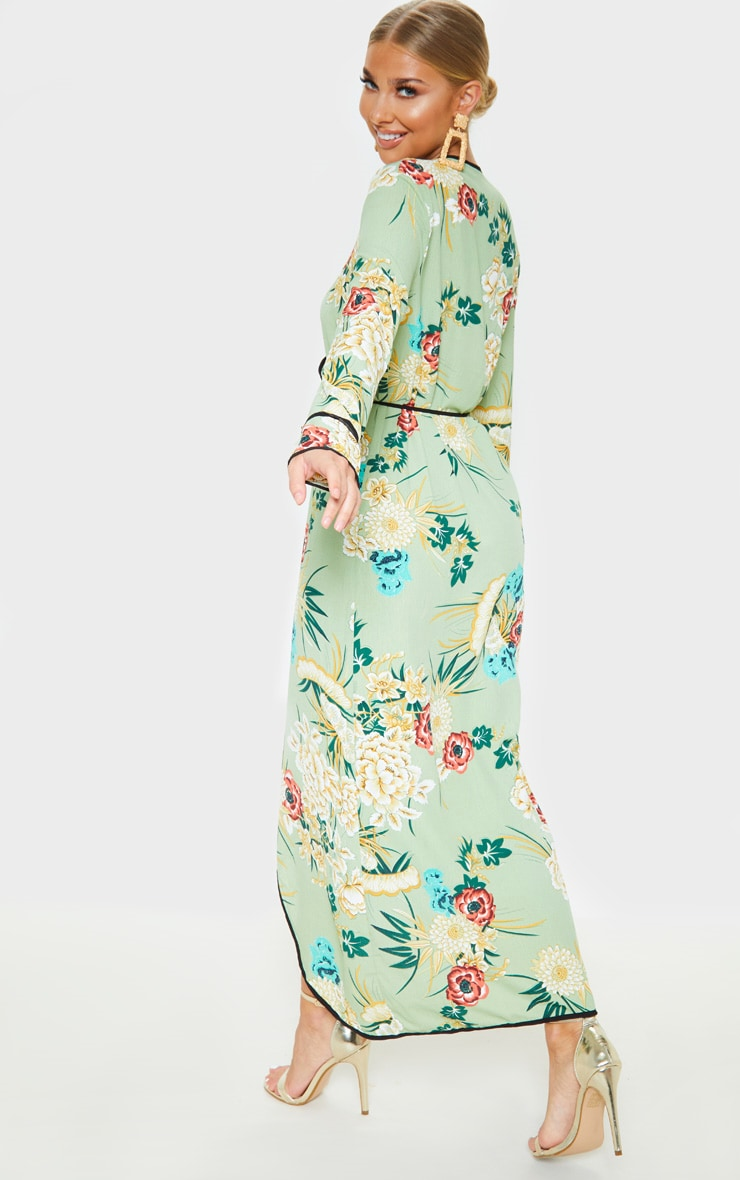Sage Green Floral Wrap Ankle Grazer Maxi Dress 2