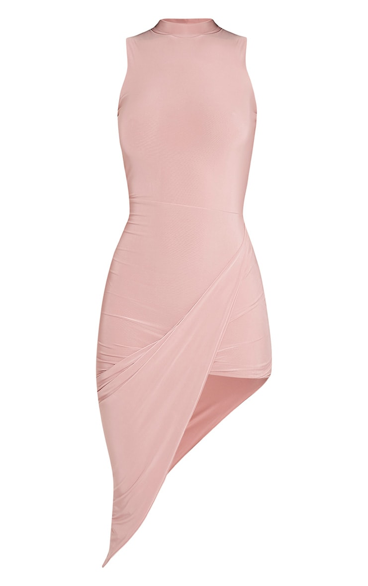 Prim Dusty Pink Slinky Drape Asymmetric Dress 3
