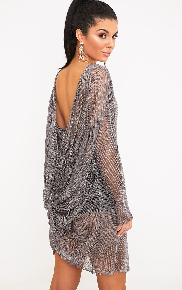 Judanna Pewter Scoop Back Sheer Knitted Mini Dress 1