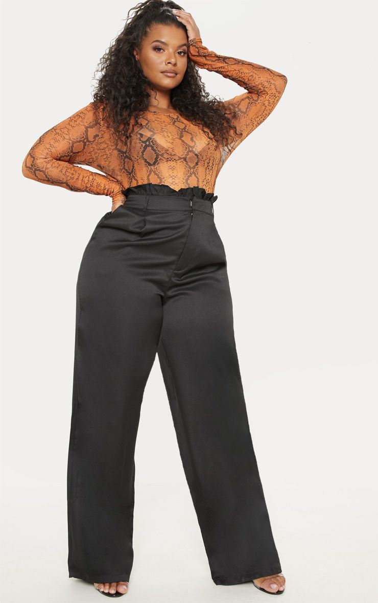 Plus Black Paperbag Wide Leg Pants 1