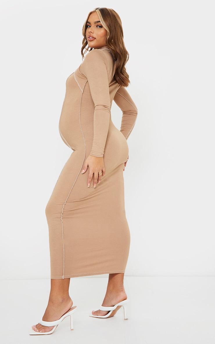 Maternity Camel Cut Out Midi Dress 2