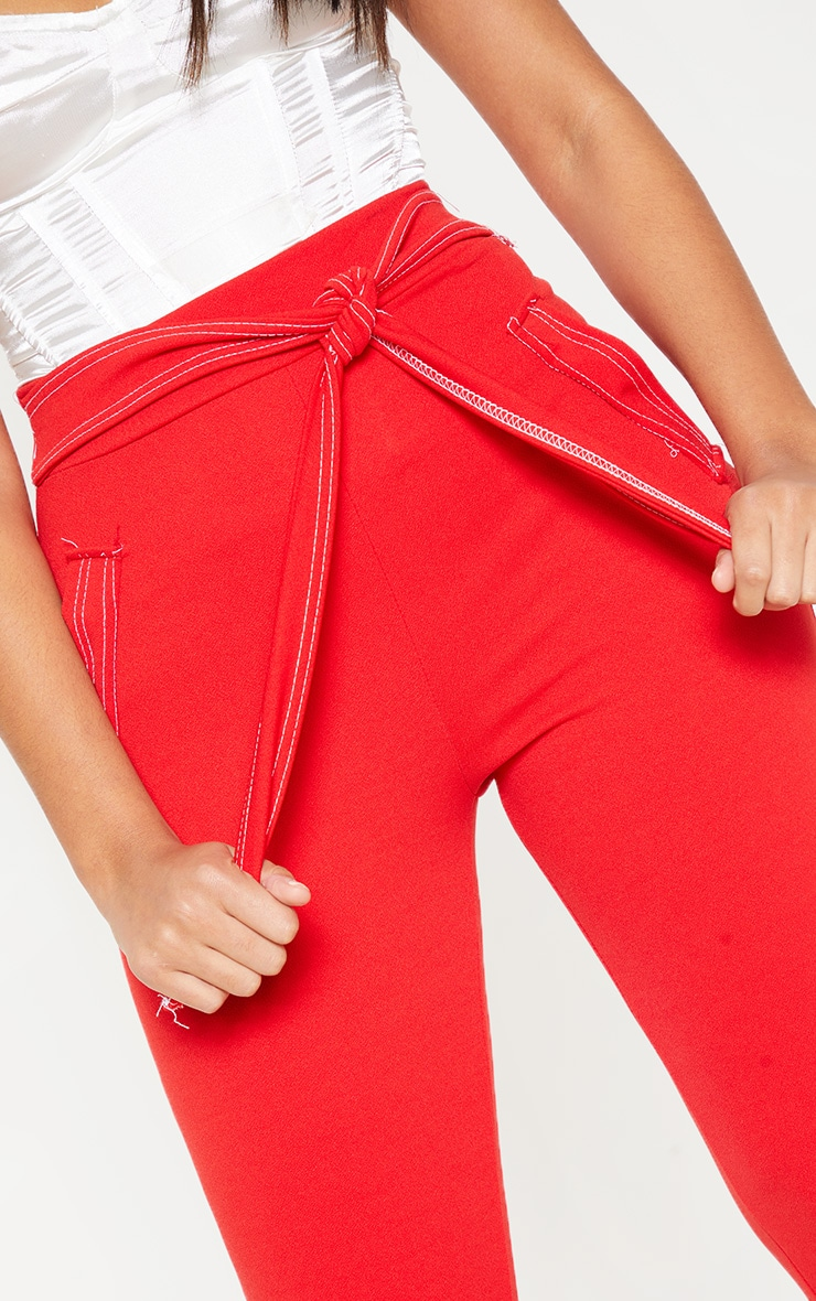 Red Contrast Stitch Tie Waist Skinny Trouser 5
