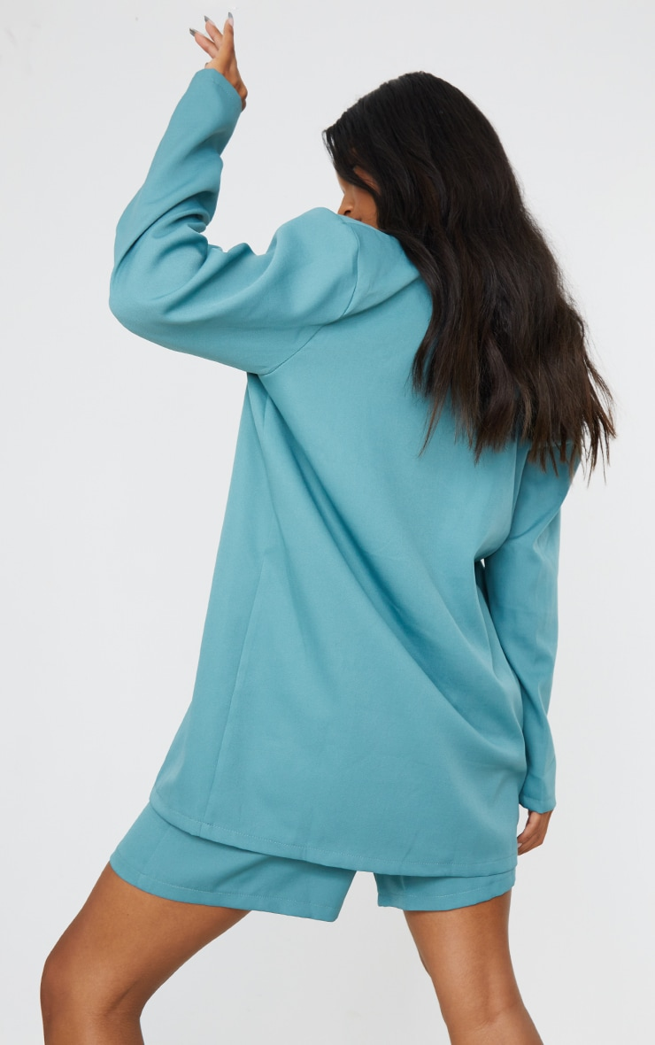 Sage Blue Woven Button Detail Blazer 2