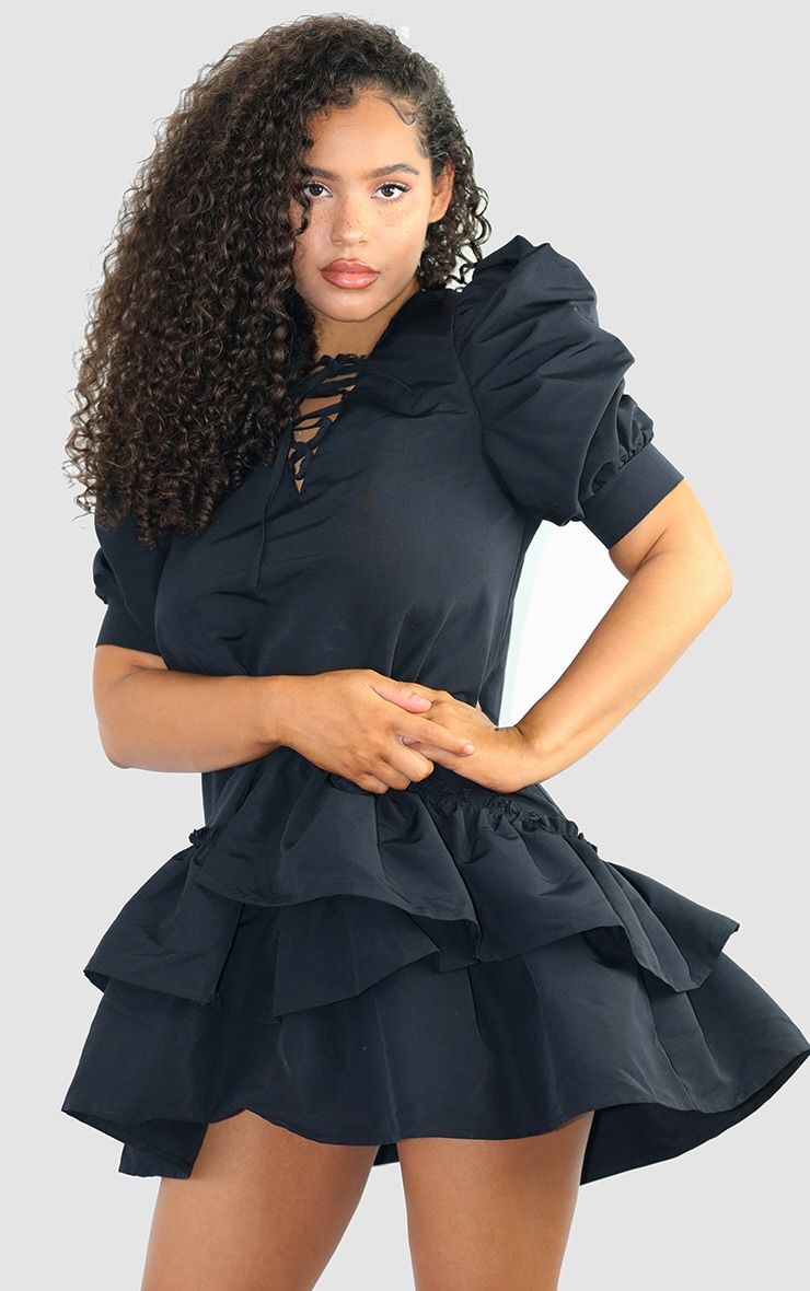 Black Woven Ruched Sleeve Frill Hem Shift Dress 1