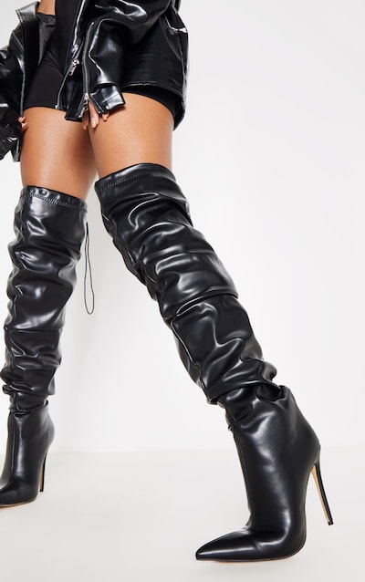 Black Thigh High Slouch Point Boot