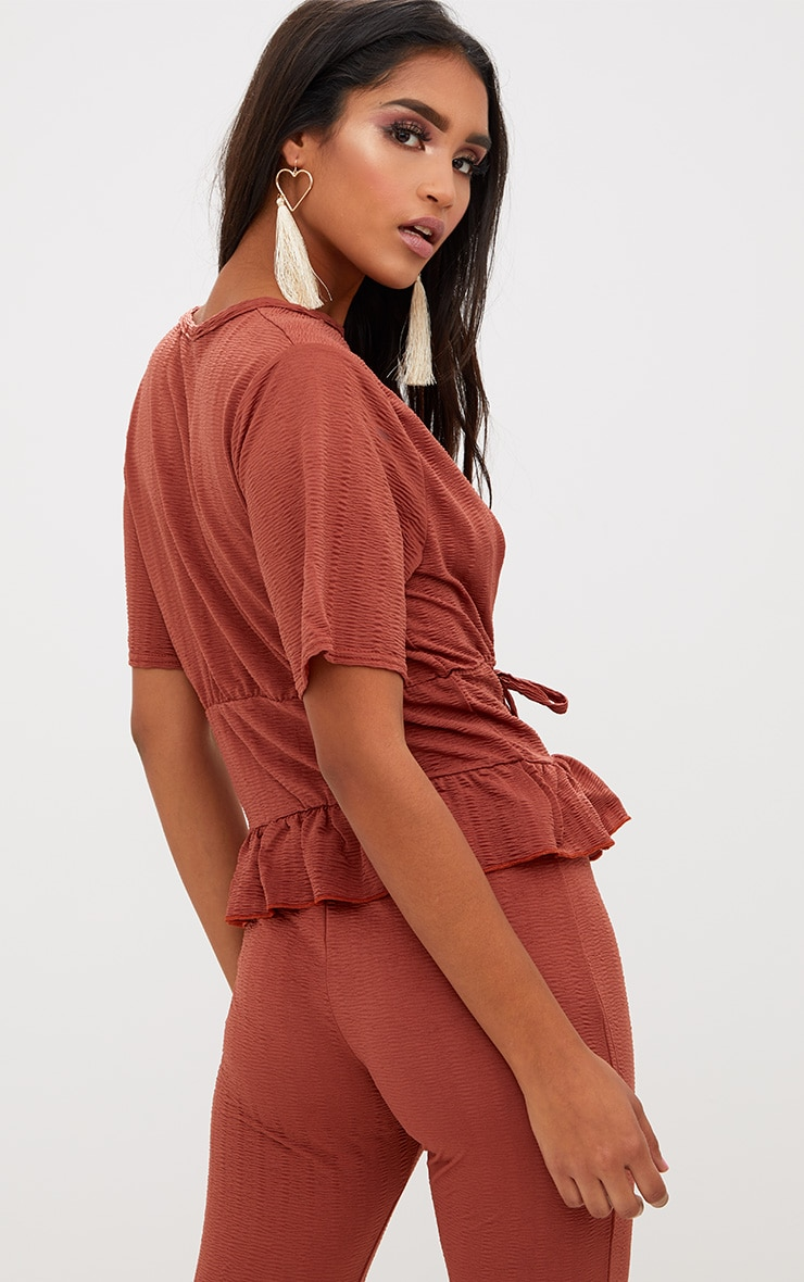 Rust Crinkle Lace Up Frill Top 2