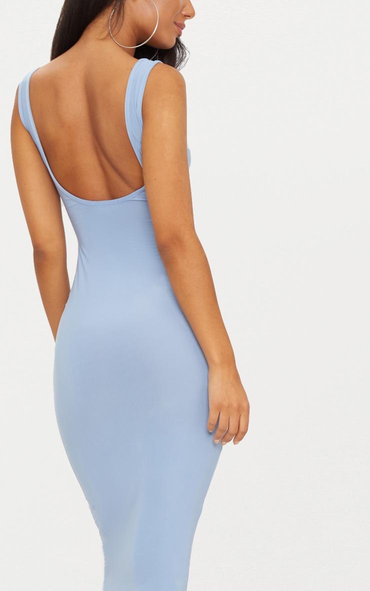 Dusky Blue Scoop Neck Low Back Midaxi Dress 5