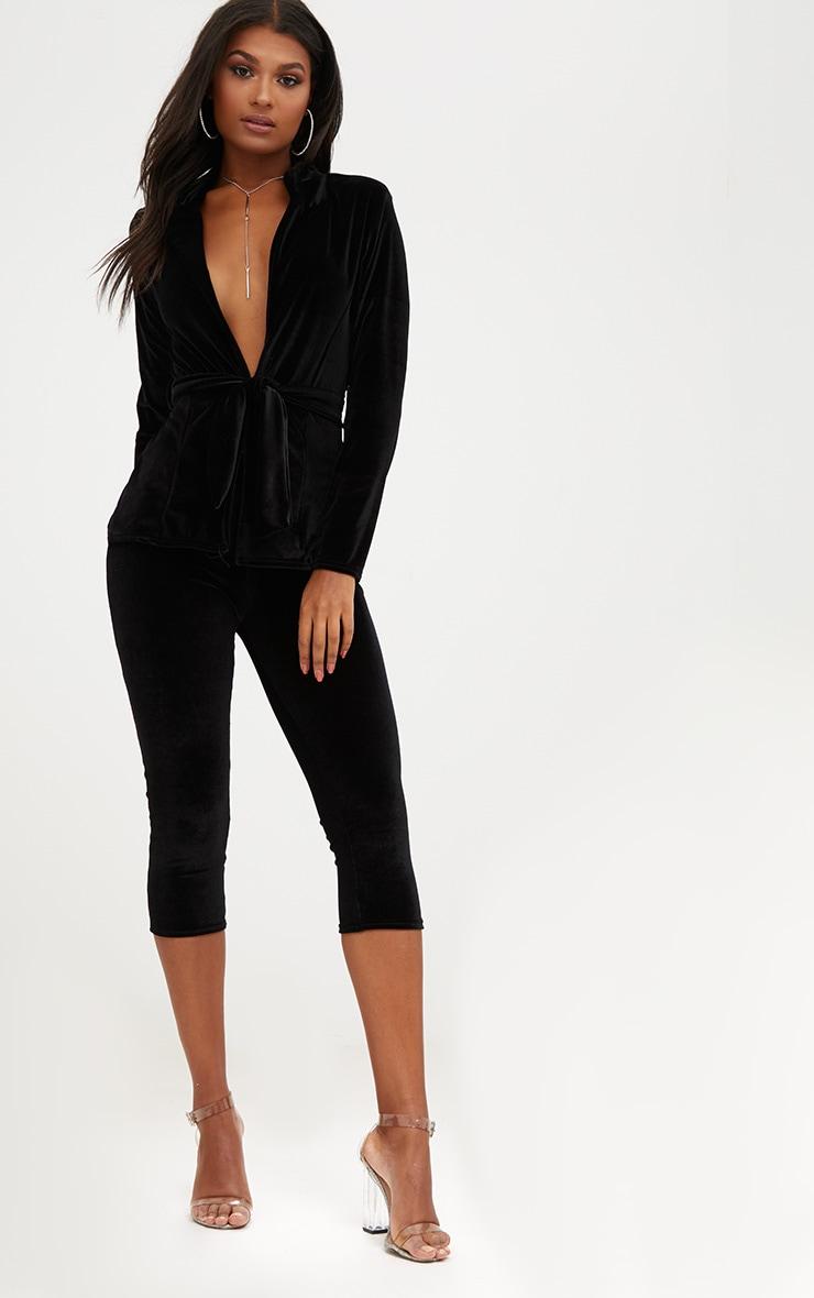 Black Velvet Belted Blazer 3