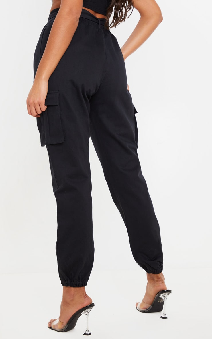 Black Utility Buckle Belt Joggers 4