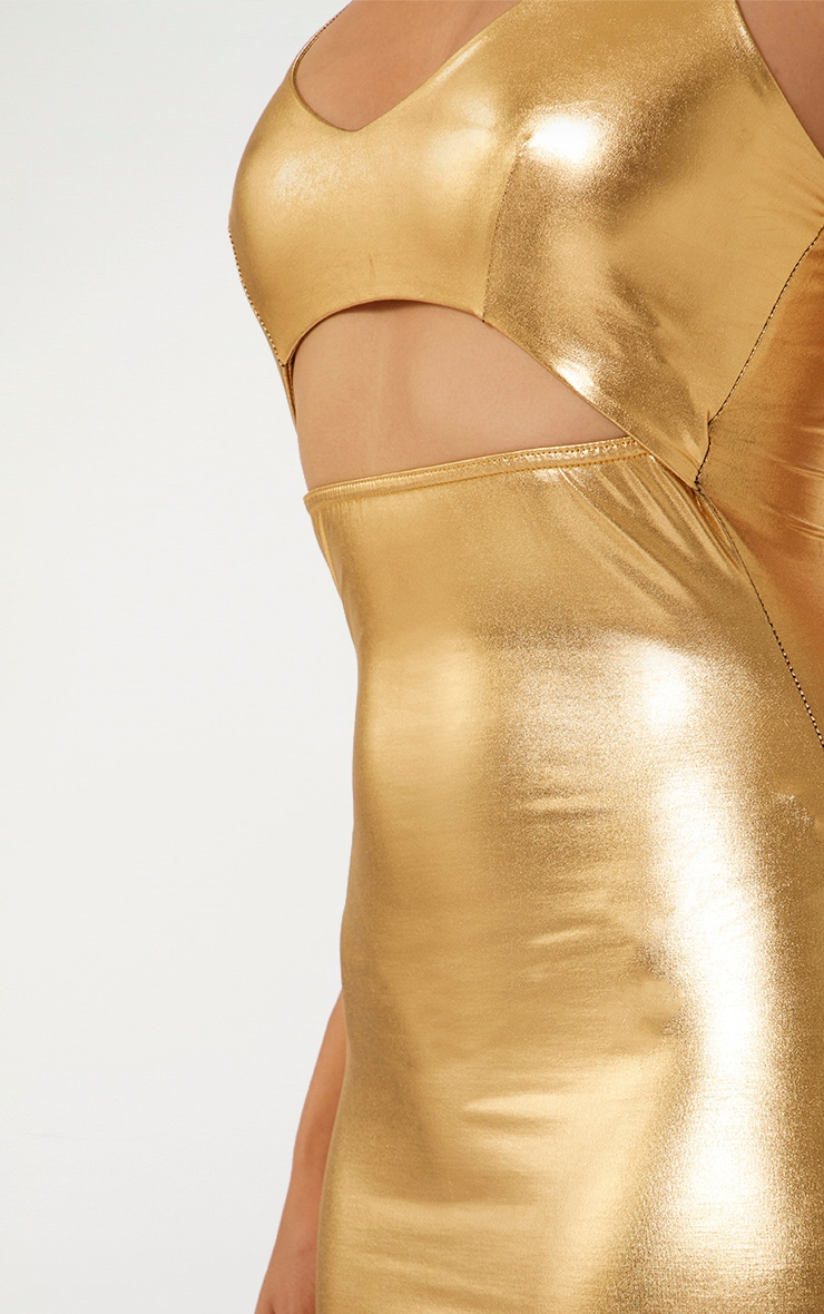 Gold Strappy Cut Out Metallic Bodycon Dress 3