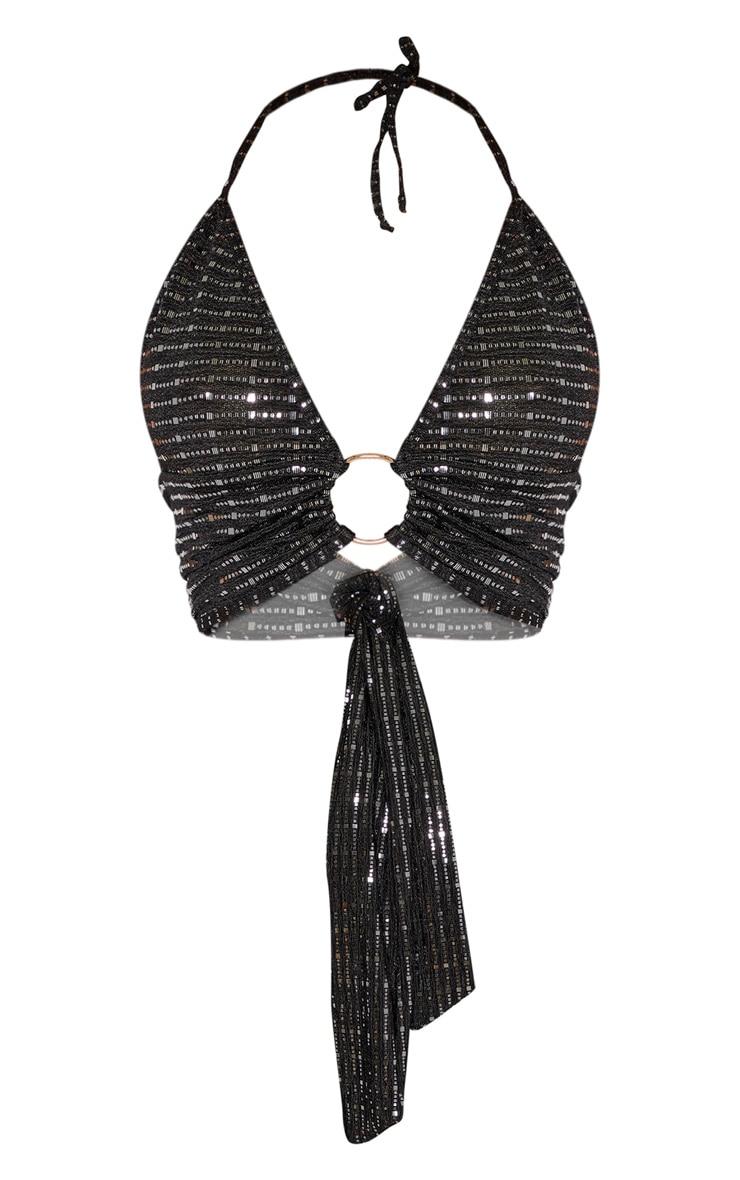 Black Sequin Plunge Ring Detail Bralet 3