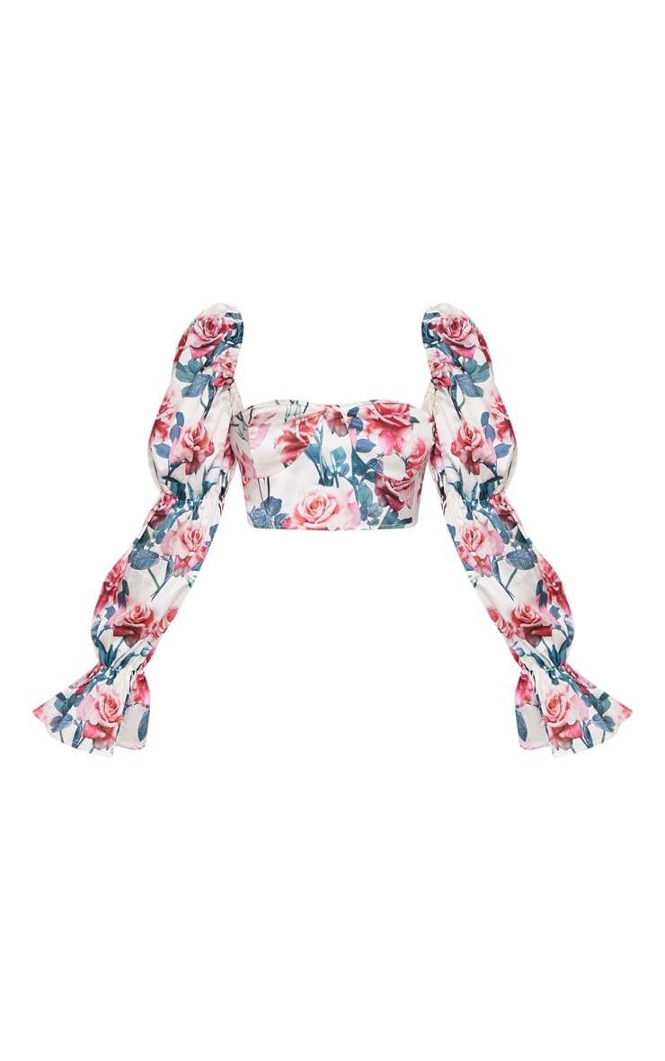 Petite Cream Floral Cropped Blouse 3