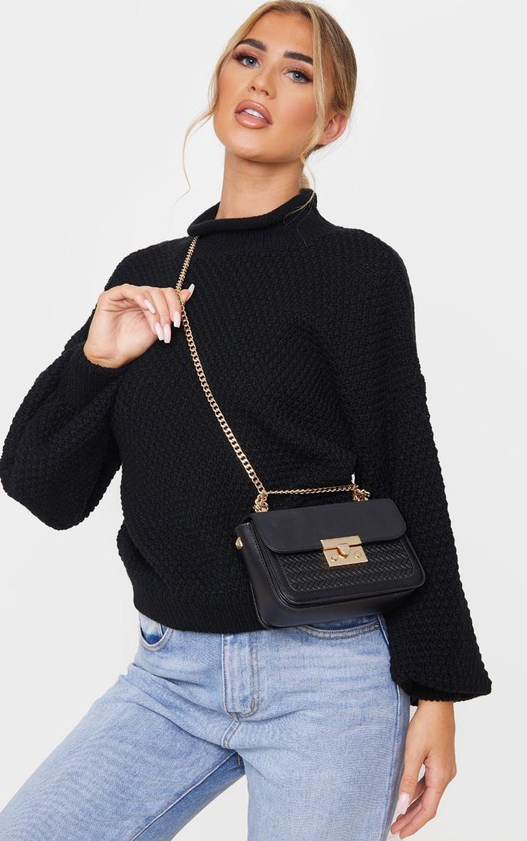 Black Pu Gold Lock Trim Cross Body Bag 1