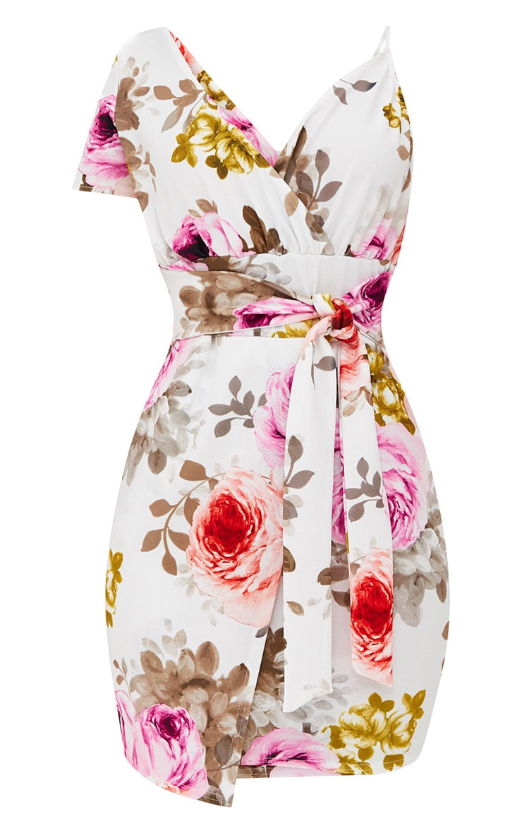 White Floral Asymmetric Wrap Bodycon Dress 3