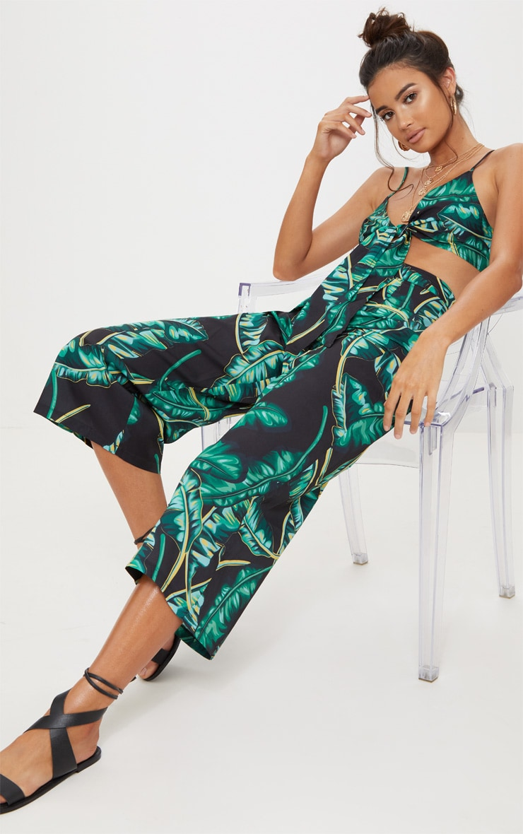 Black Palm Print Culottes 1