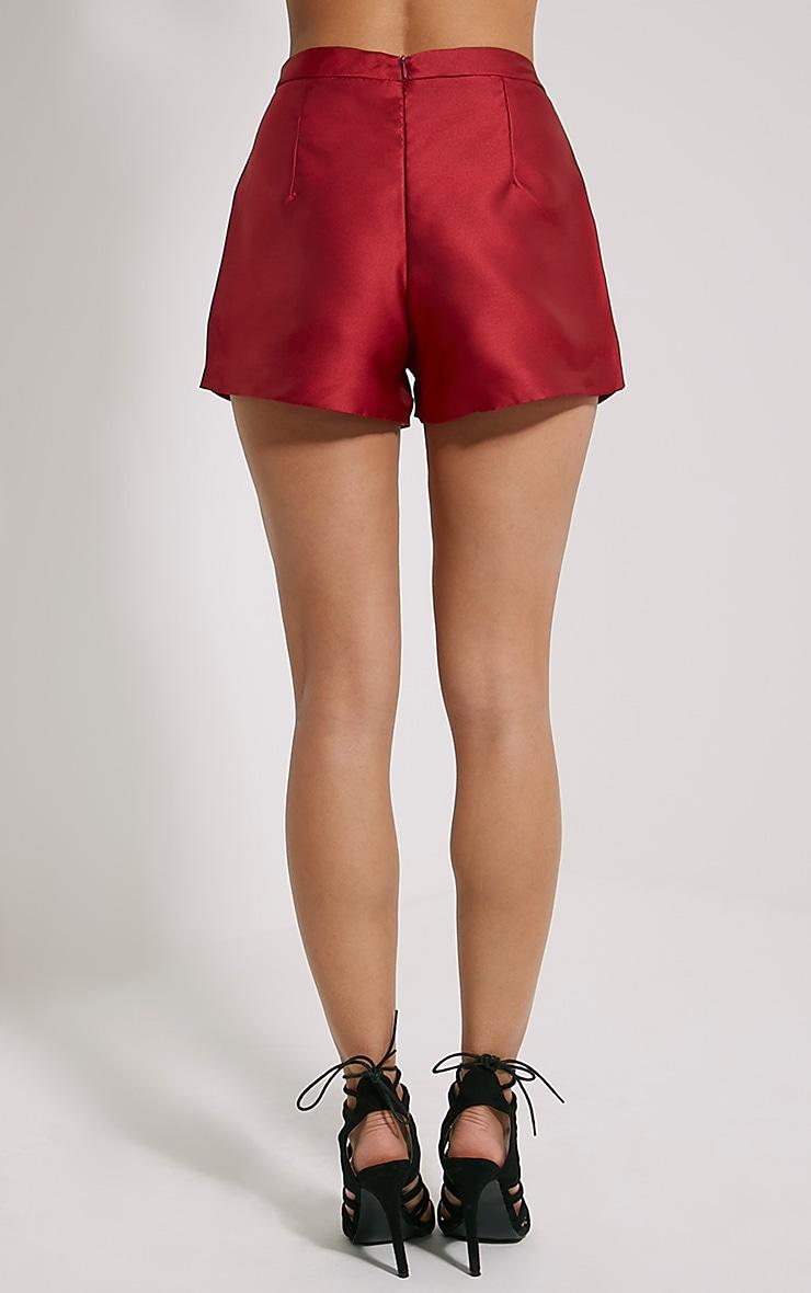 Jadyn Burgundy Satin Shorts 4