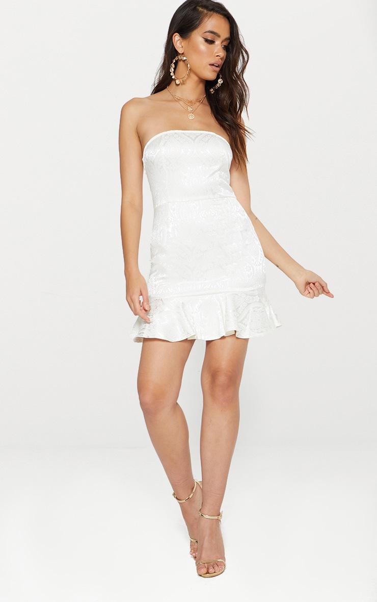 White Jacquard Bandeau Frill Hem Bodycon Dress 1