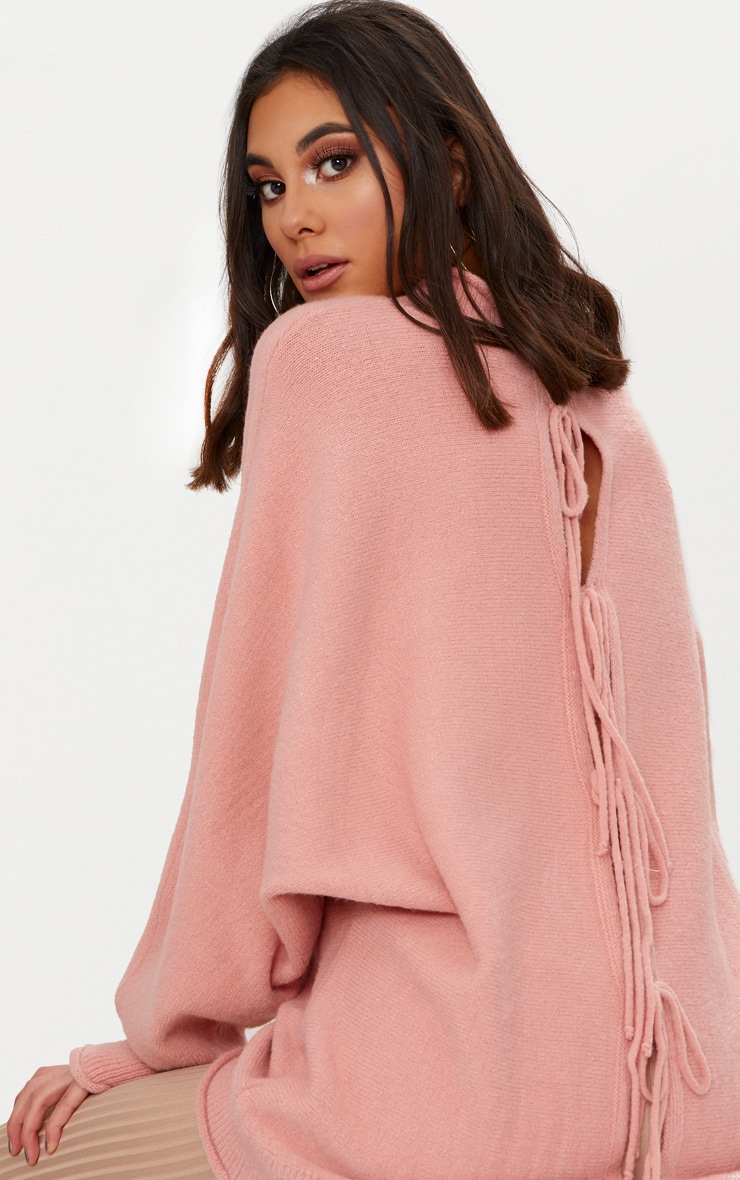 Pink Lace Up Back Oversized Knitted Jumper 5