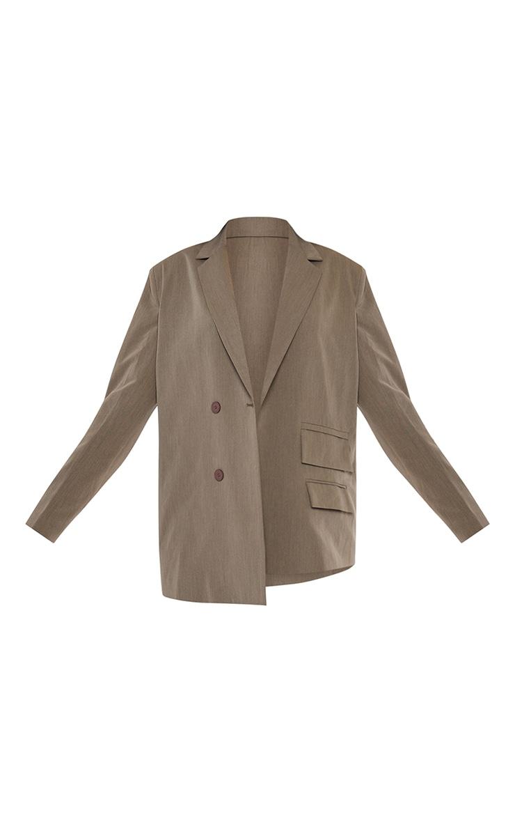 Khaki Woven Double Pocket Side Button Dad Blazer 5