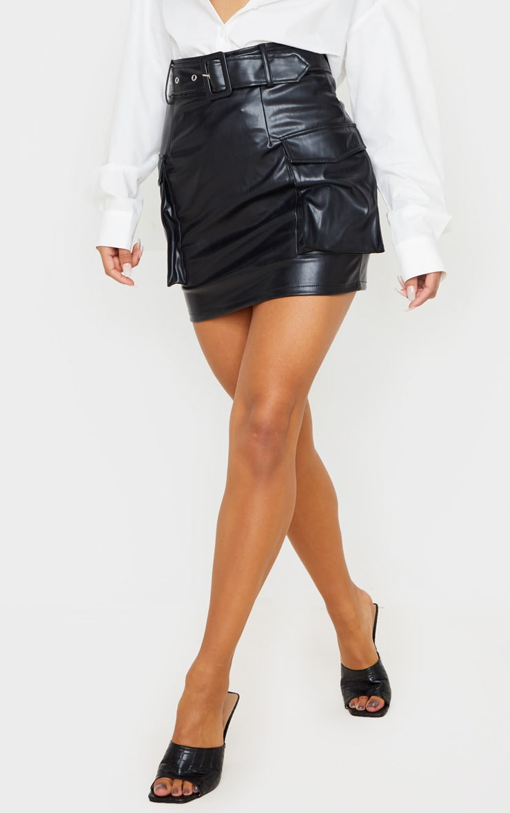 Black Faux Leather Belted Cargo Pocket Mini Skirt 2
