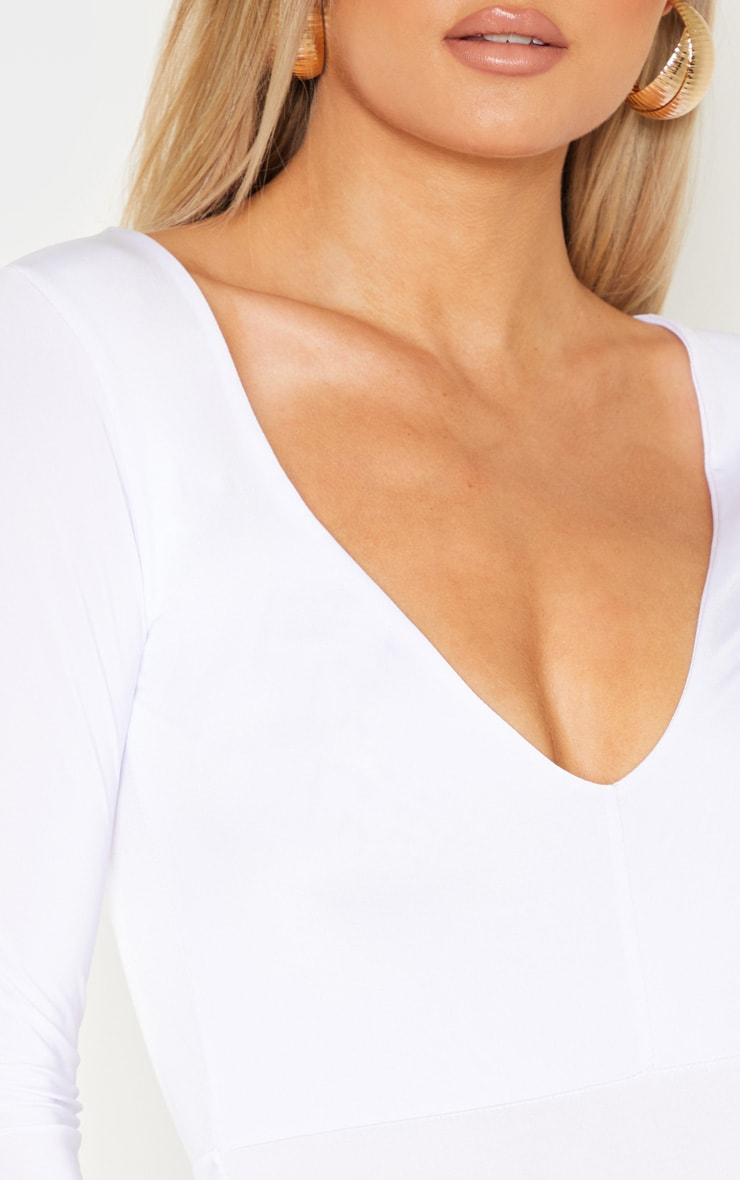Tall White Slinky Plunge Bodysuit  6