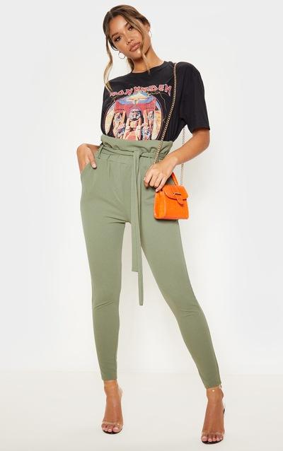 Sage Khaki Paperbag Tie Waist Skinny Trouser