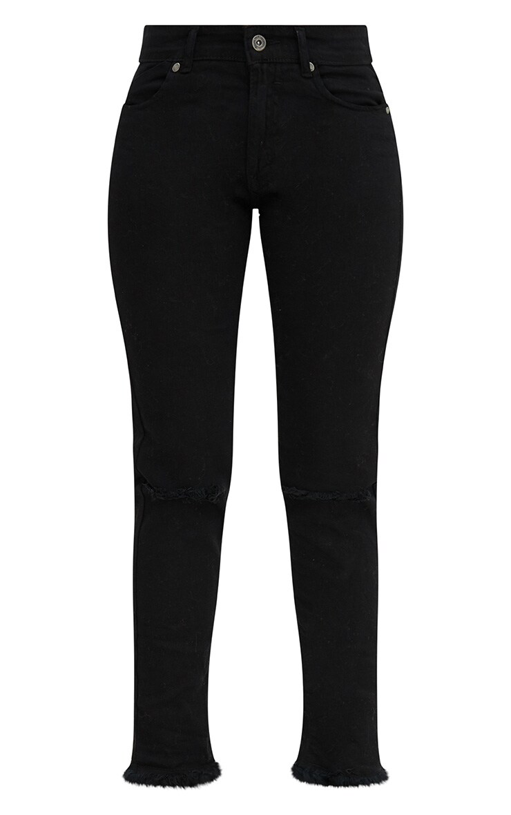 Black Frayed Hem Knee Rip Skinny Jean 3