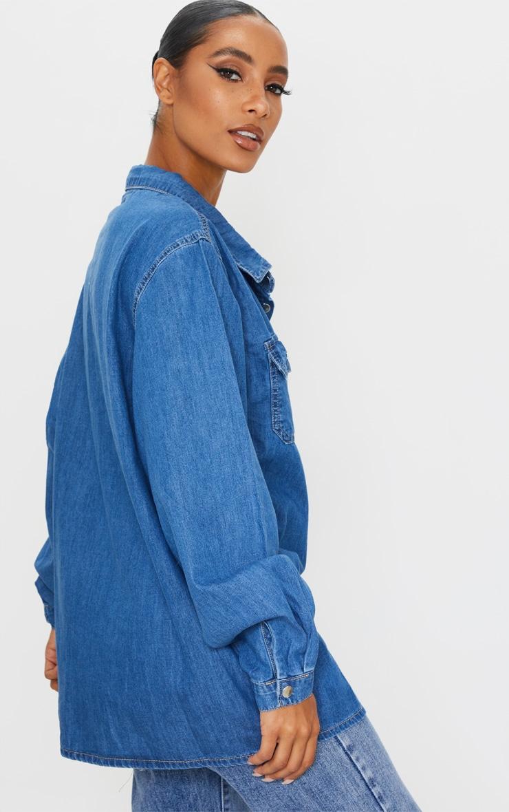 Mid Blue Wash Popper Denim Shirt 2