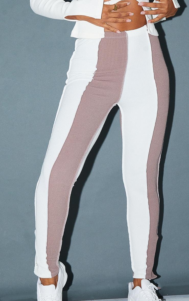 Cream Contrast Stripe Button Detail Hem Leggings 4