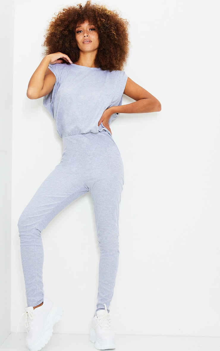 Grey Shoulder Pad Cotton Elastane Jumpsuit