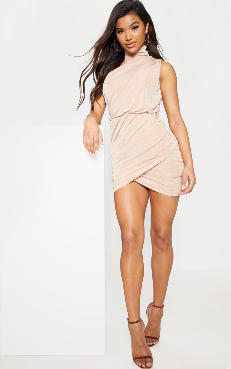 Champagne High Neck Ruched Side Bodycon Dress 5