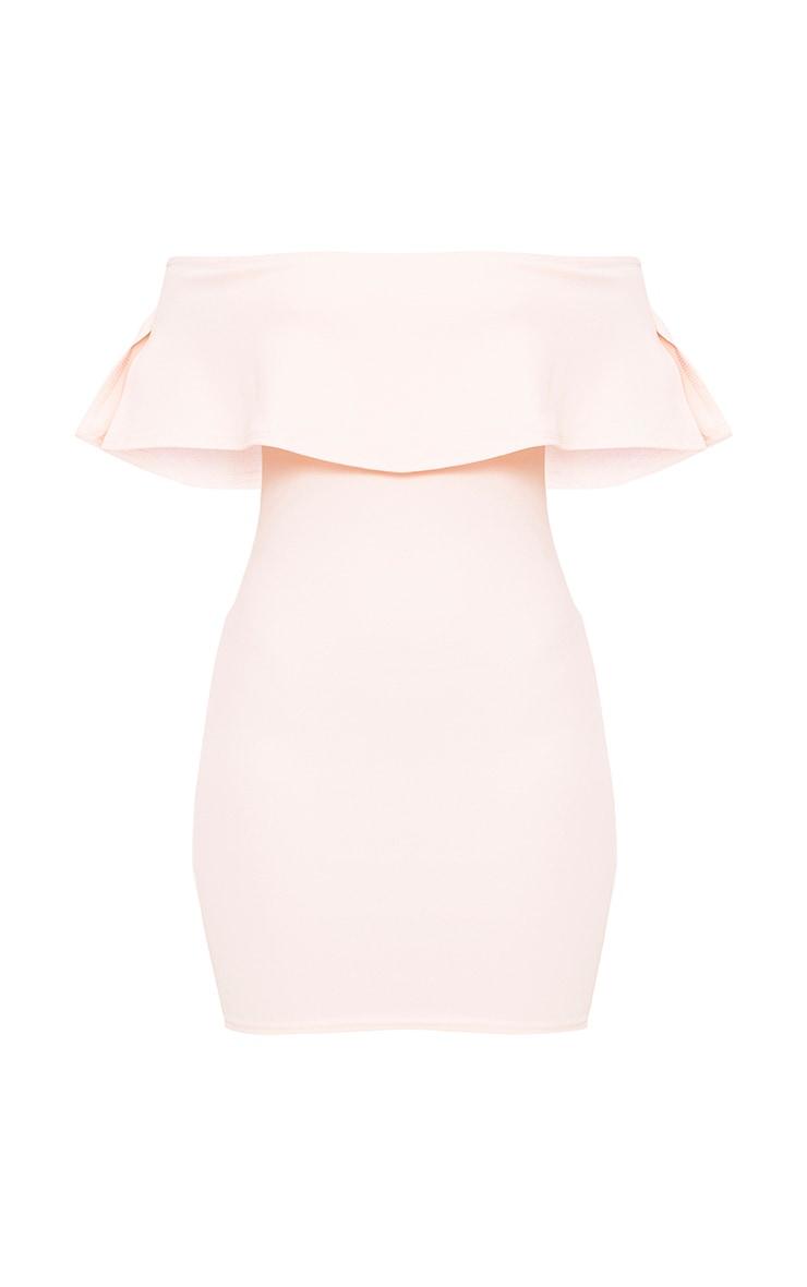 Nude Bardot Frill Bodycon Dress 3