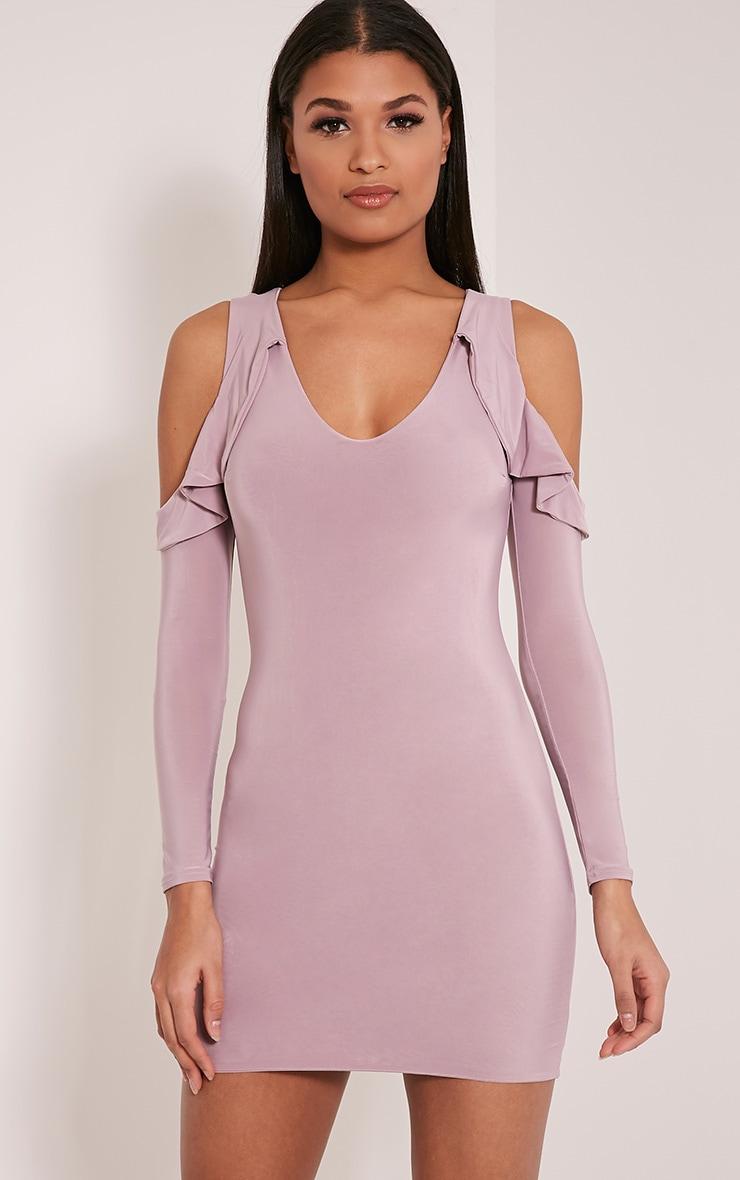 Darlia Mauve Cold Shoulder Frill Detail Mini Dress 1
