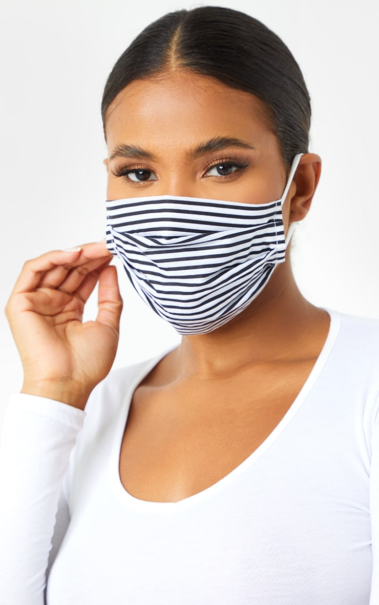 Black Gingham And Stripe Two Pack Face Mask 2