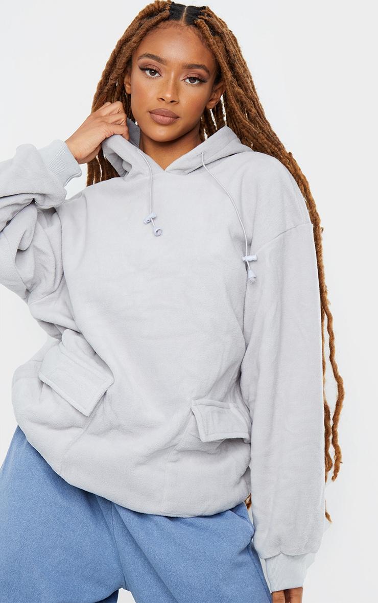 Grey Fleece Oversized Pocket Sweatshirt 1