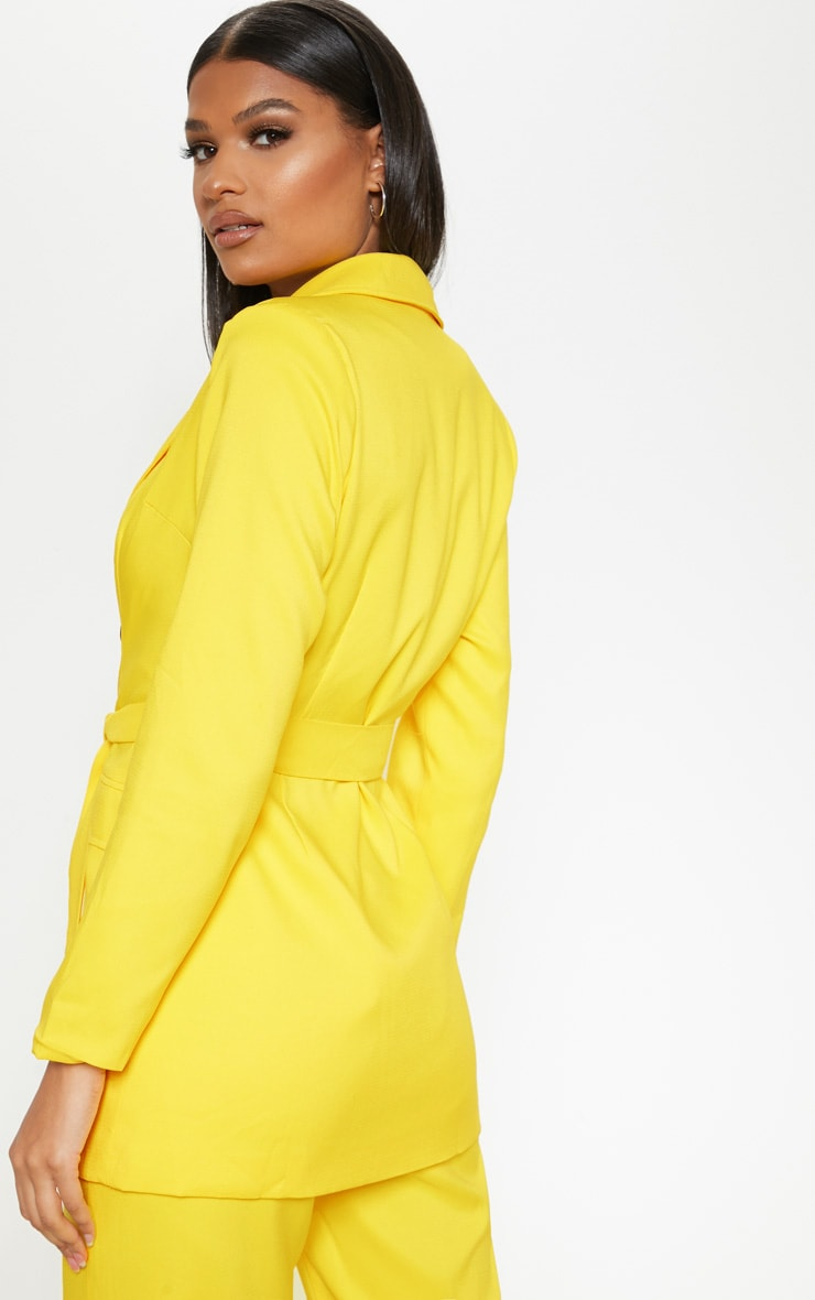Bright Yellow Belted Long Line Woven Blazer    2