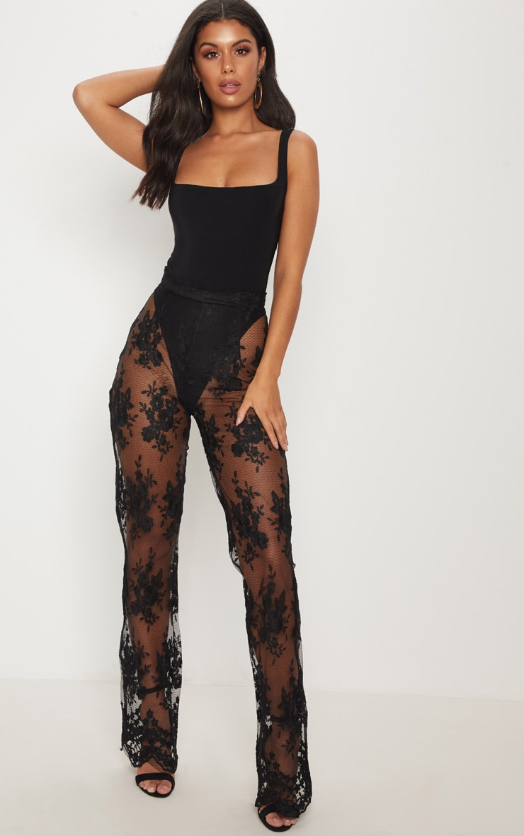 Black Occasion Sheer Lace Flare Leg Pants 1