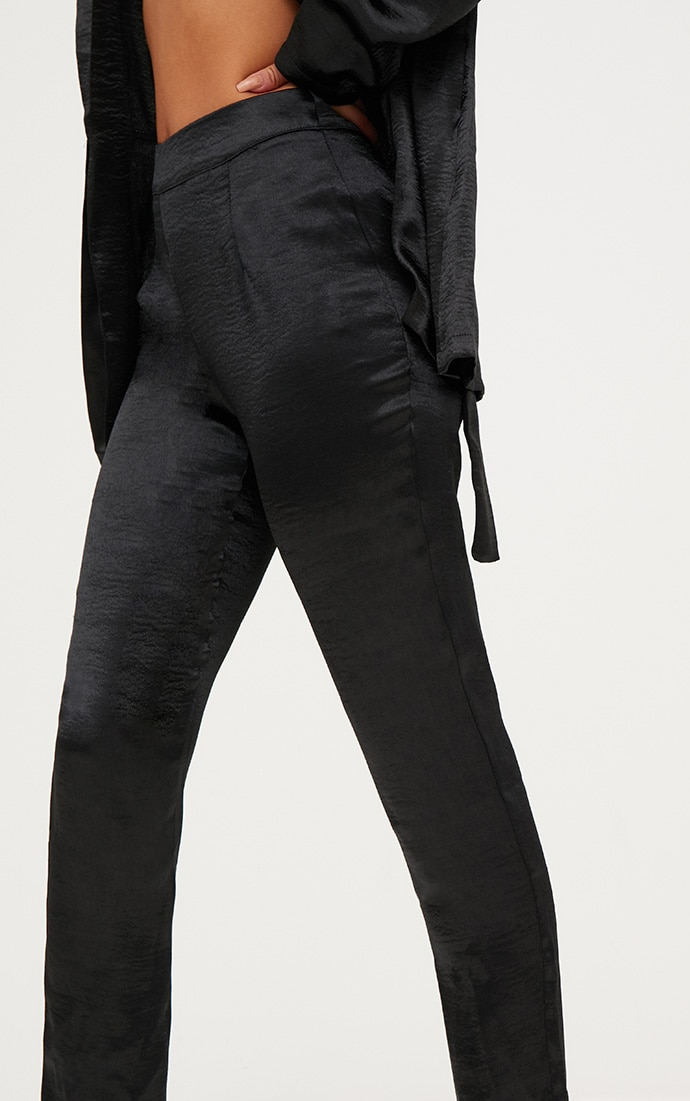 Black Hammered Satin Trousers 5