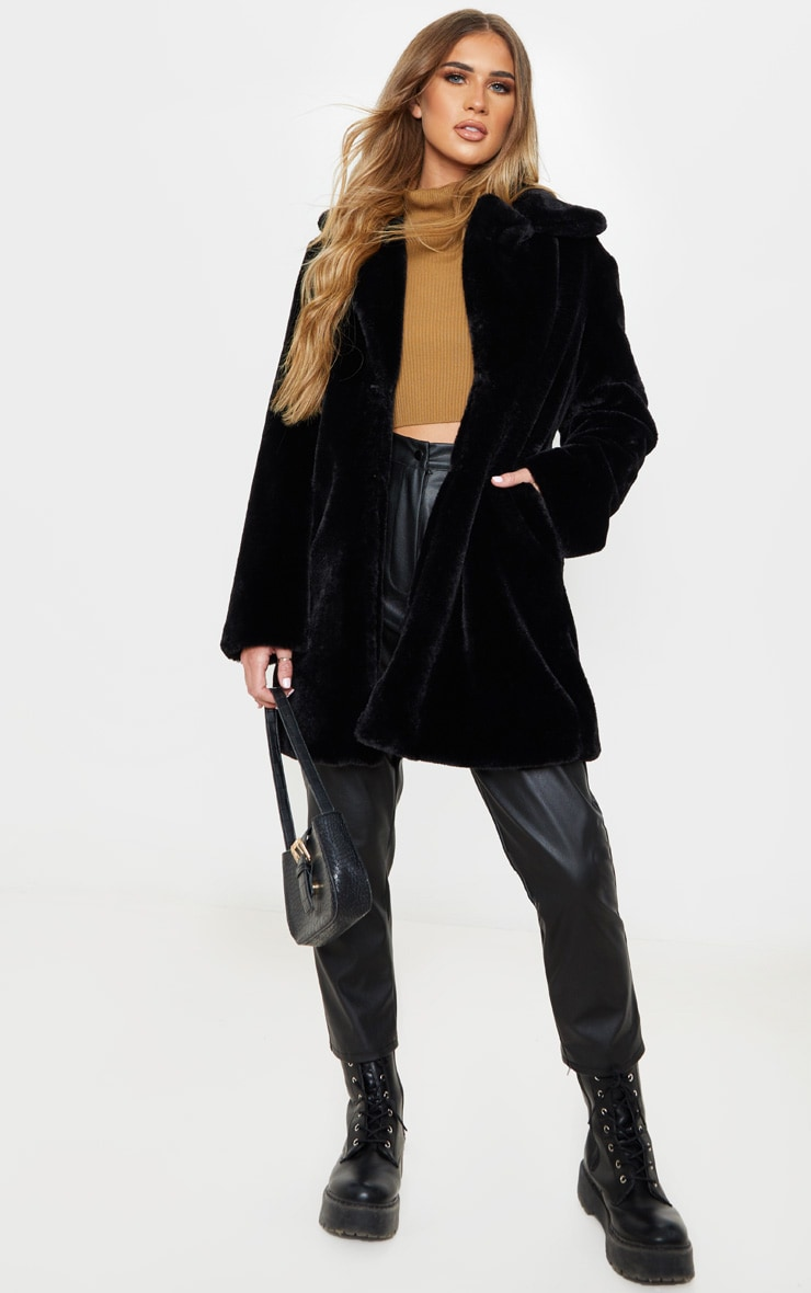 Black Faux Fur Midi Collar Coat 1