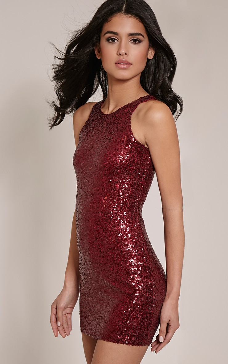 Twiggie Wine Sequin Mini Dress 1