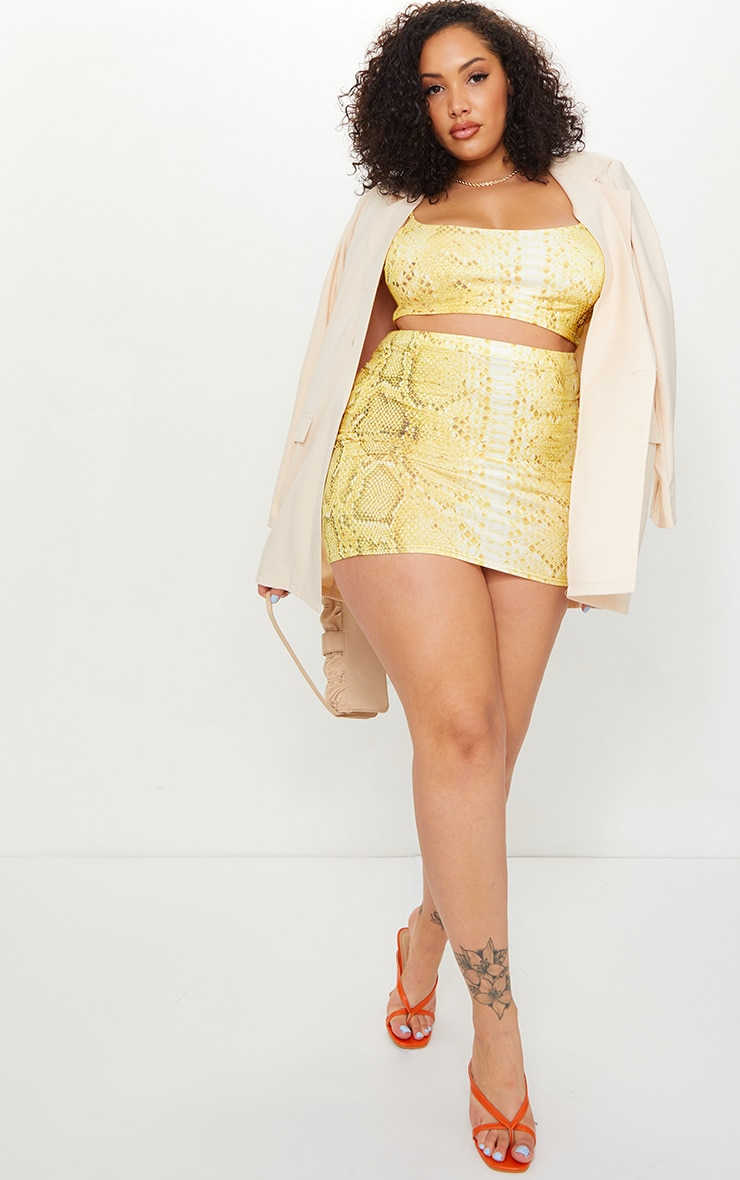 Plus Yellow Snake Print Mini Skirt 1