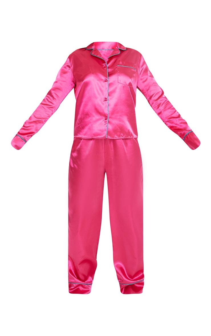 Hot Pink Satin Contrast Piping Long PJ Set 5