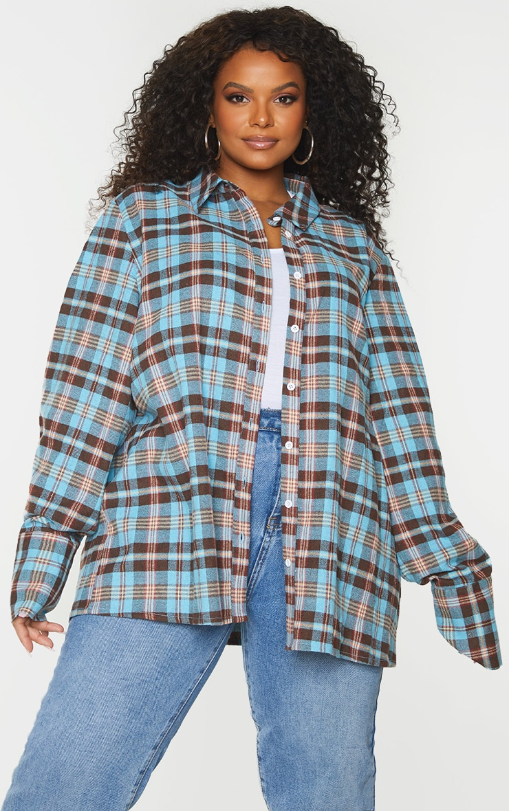 Plus Blue Checked Oversized Shirt 3