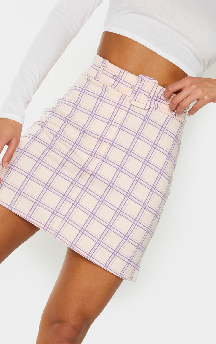 Pink Check Print Belted Mini Skirt 6
